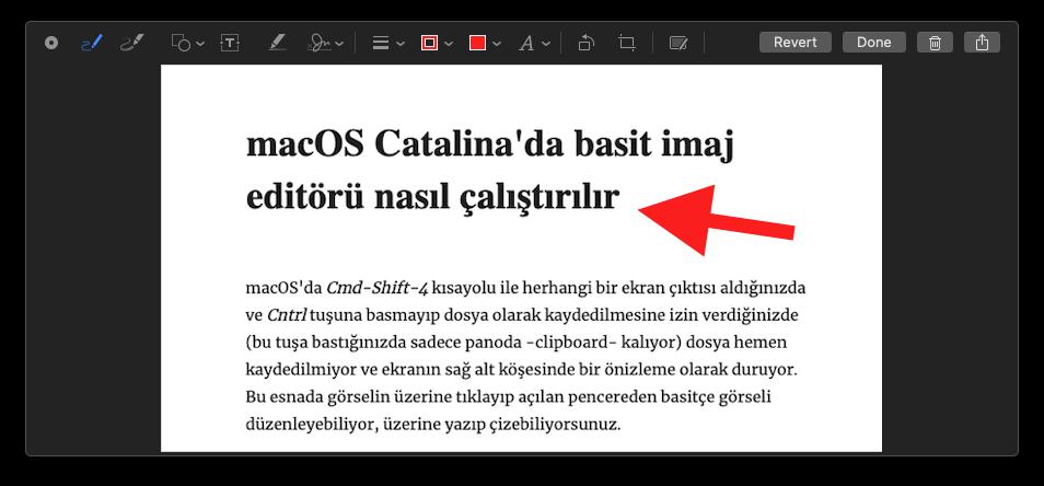 macOS Catalina'da basit imaj editörü nasıl çalıştırılır